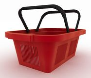 Empty red plastic shopping basket Royalty Free Stock Image