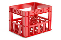 Empty red plastic storage box, crate for bottles. 3D rendering. On white background Royalty Free Stock Images