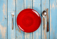 Empty red plate Royalty Free Stock Image