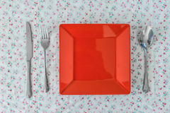 Empty red plate Stock Image