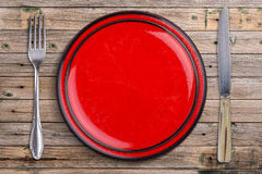 Empty red plate Royalty Free Stock Photos