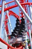 Empty red roller coaster Royalty Free Stock Image
