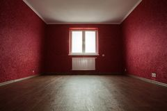 Empty red room. For rent or sale Royalty Free Stock Image