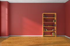 Empty red room wooden bookshelf interior Stock Image