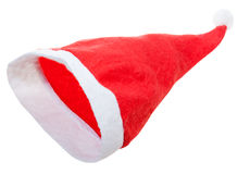 Empty red santa claus hat isolated on white Royalty Free Stock Photo