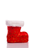 Empty red santa shoe isolated over white Stock Images