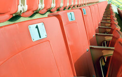 Empty red seating in sport stadium Royalty Free Stock Images