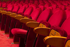 Empty red seats for cinema. Theater, conference or concert Stock Photos