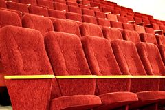 Empty red seats in the hall. Concert hall. stock images