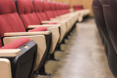 Empty red seats in lecture hall. Row of empty red seats in a large lecture hall Stock Photography