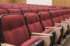 Empty red seats in lecture hall. Rows of empty red seats filling the frame Stock Image