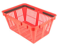 Empty red shopping basket. Isolated over white background Stock Photography