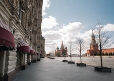 Free Empty Red Square And Kremlin In Moscow During The Quarantine Lockdown In April 2020 Royalty Free Stock Images - 181889569