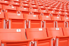 Empty red stadium seats Stock Photo