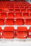Empty, red stadium seats Royalty Free Stock Photo