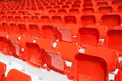 Empty, red stadium seats Royalty Free Stock Photos