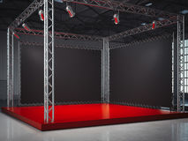Empty red stage with framework, lightspots. 3d rendering Stock Images