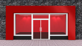 Empty Red Store Front Royalty Free Stock Photography