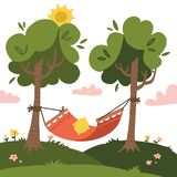 Empty red Summer hammock with trees and landscapes on the background. Nature tourism. Sun and clouds. Flat vector design