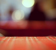 Empty red table and blur resturant background, street view Stock Image