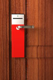 Empty Red tag on door handle Royalty Free Stock Image