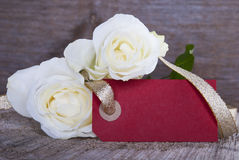 Empty Red Tag with Roses Royalty Free Stock Photo