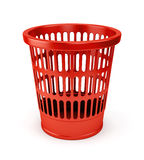 Empty red wastebasket icon Stock Photos
