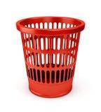 Empty red wastebasket icon. Isolated on white background Stock Photos