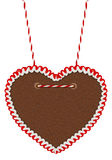 Empty red white  gingerbread heart Stock Photography