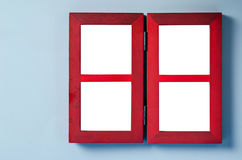 The empty red wooden photo frame. Royalty Free Stock Images
