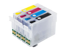 Empty refillable cartridges for colour inkjet printer Royalty Free Stock Photos