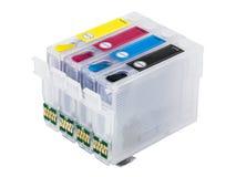 Empty refillable cartridges for colour inkjet printer Royalty Free Stock Photos