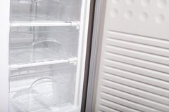 Empty refridgerator. Stock Photo
