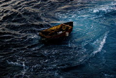 Empty refugee boat royalty free stock photography