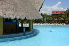 Empty resort pool. An empty pool in a large resort in Mexico, following the H1N1 influenza (swine flu) outbreak in May 2009 Stock Photo