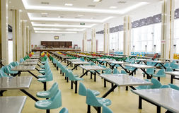 Empty restaurant. Interior photo of empty restaurant,there are rows of chairs and desks,taken in a universtiy dinning hall in China Stock Images