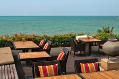 Empty restaurant on the beach Stock Image