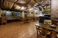 Empty restaurant panorama stock images