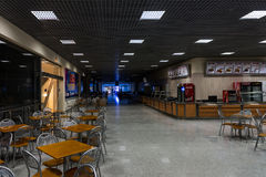 Empty restaurant gallery of the exhibition centre Crocus-Expo before the exhibitions starts. Winter 2015. Morning. Russia. Moscow. Crocus-Expo.Empty restaurant Stock Photography