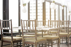 Empty restaurant interior in the morning. Background stock photo