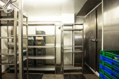 Empty restaurant kitchen storage room stainless steel. In a hotel or restaurant stock images