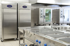 Empty Restaurant Kitchen With Professional Equipment Stock Image