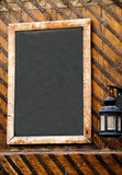 Empty restaurant menu. Black chalkboard in a traditional italian restaurant Stock Photos
