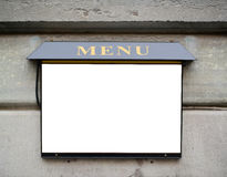 Empty restaurant menu sign on wall Royalty Free Stock Images