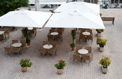 An empty restaurant on the pavement royalty free stock photos