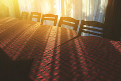 Empty restaurant table in the morning. Royalty Free Stock Image