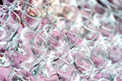 Empty restaurant wine glasses Stock Image