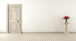 Empty retro interior. With closed door with pedestal and roses - 3d rendering Stock Photo