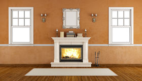 Empty retro room with fireplace Stock Photography