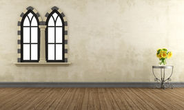 Empty retro room with gothic windows Royalty Free Stock Images